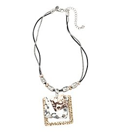 Laura Ashley® Tri-Tone Layered Square Pendant Necklace