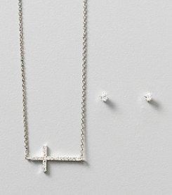 BT-Jeweled Silvertone Small Pave Sideways Cross and Stud Set