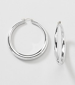 Relativity® Silvertone Large Hoop Earrings