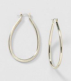 Relativity® Goldtone Oval Hoop Earrings