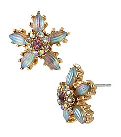 Betsey Johnson® Goldtone/Pink Crystal Flower Stud Earrings