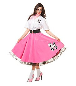 Complete 50's Poodle Outfit Pink Adult Costume