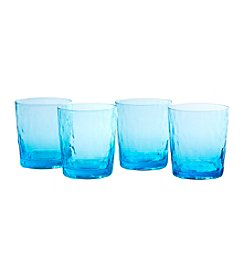 Artland® Ripple Turquoise Set of 4 Double Old Fashioned Glasses