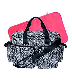 Trend Lab Midnight Fleur Damask Deluxe Duffle