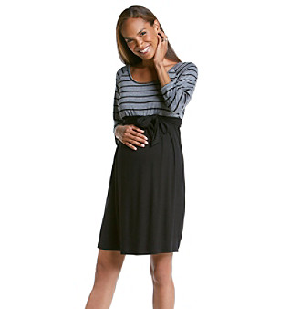Three Seasons Maternity™ Striped Top Solid Skirt Belted Dress plus size,  plus size fashion plus size appare