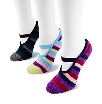 MUK LUKS Women's 3-Pack Striped Mary Jane Socks