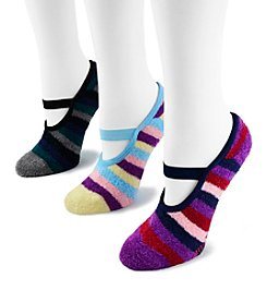 MUK LUKS® Women's 3 Pr. Pk. Striped Buttercreme with Aloe Mary Jane Socks