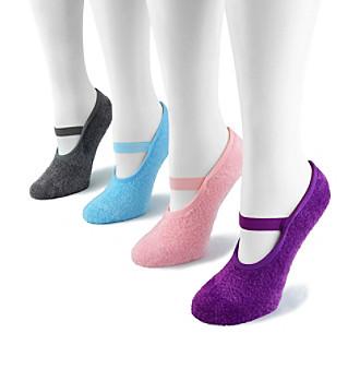 MUK LUKS Women's 4 Pr. Pk. Buttercreme with Aloe Mary Jane Socks