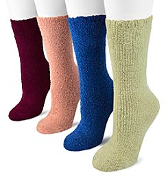 "MUK LUKS® Women's 4 Pair Pack 8"" Micro Chenille Socks"