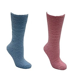 MUK LUKS Women's 2 Pair Pack Micro Chenille Knee High Socks
