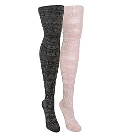 MUK LUKS 2-Pack Patterned Microfiber Tights