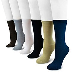MUK LUKS® 6-Pack Rayon From Bamboo Crew Socks