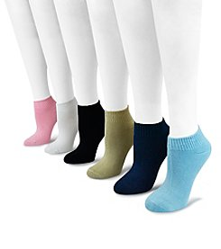 MUK LUKS 6-Pack Women's Rayon from Bamboo Assorted Solid Color No Show Socks