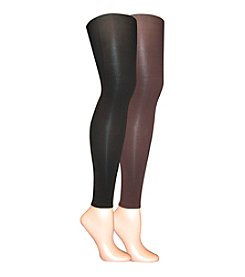 MUK LUKS Microfiber Footless Tights 2-Pack