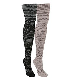 MUK LUKS Patterned Microfiber Tights 2-Pack