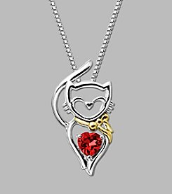Created Ruby Cat Pendant in Sterling Silver/14K Yellow Gold