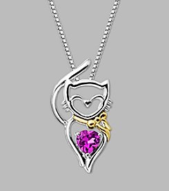 Created Pink Sapphire Cat Pendant in Sterling Silver/14K Yellow Gold