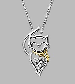 Created White Sapphire Cat Pendant in Sterling Silver/14K Yellow Gold
