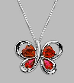 Created Ruby Butterfly Pendant in Sterling Silver