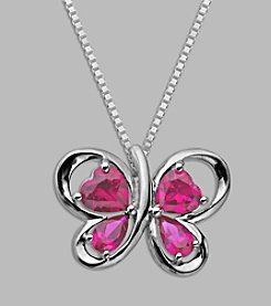 Created Pink Sapphire Butterfly Pendant in Sterling Silver