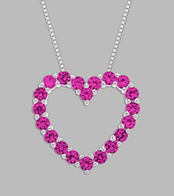 Created Pink Sapphire Heart Pendant in Sterling Silver