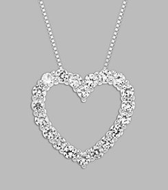Created White Sapphire Heart Pendant in Sterling Silver