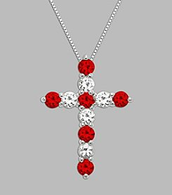 Created Ruby & Created White Sapphire Cross Pendant in Sterling Silver