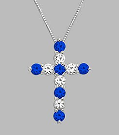 Created Blue Sapphire & Created White Sapphire Cross Pendant in Sterling Silver