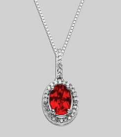 Created Ruby & Diamond .01 ct. t.w. Pendant in Sterling Silver