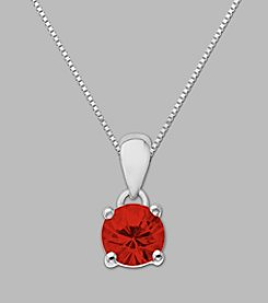 Created Ruby Round Pendant in Sterling Silver