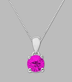 Created Pink Sapphire Round Pendant in Sterling Silver