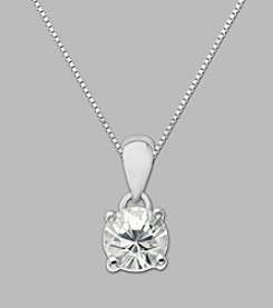 Created White Sapphire Round Pendant in Sterling Silver