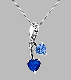 Created Blue Sapphire & Created Ceylon Sapphire Pendant in Sterling Silver