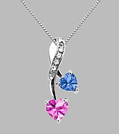 Created Pink Sapphire & Created Ceylon Sapphire Pendant in Sterling Silver