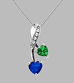 Created Emerald & Created Ceylon Sapphire Pendant in Sterling Silver