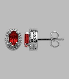 Created Ruby & Diamond .14 ct. t.w. Earrings in Sterling Silver