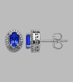 Created Sapphire & Diamond .14 ct. t.w. Earrings in Sterling Silver