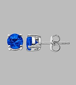 Created Sapphire Round Earrings in Sterling Silver