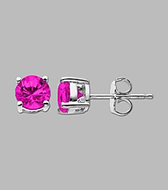 Created Pink Sapphire Round Earrings in Sterling Silver