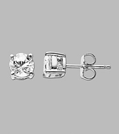 Created White Sapphire Round Earrings in Sterling Silver