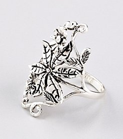 Marsala Fine Silver Plated Floral Ring
