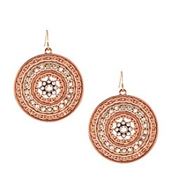 Jessica Simpson Rose Goldtone Around the Way Disc Drop Earrings