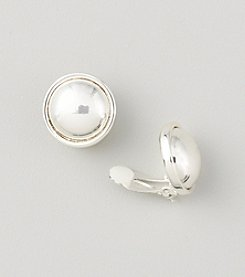Lauren Ralph Lauren Clip-on Silvertone Button Earrings