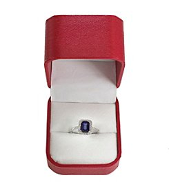 Effy® 14K White Gold, Manufactured Diffused Sapphire and .27 ct. t.w. Diamond Ring