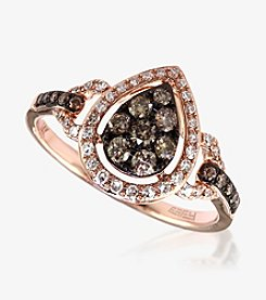 Effy® Yellow 14K Rose Gold Ring with .46 ct. t.w. Espresso and White Diamonds