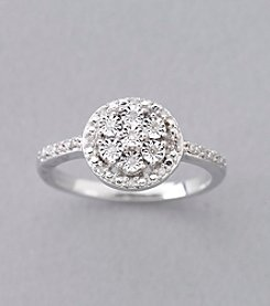 .10 ct. t.w. Diamond Cluster Ring in Sterling Silver