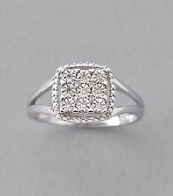 .05 ct. t.w. Square Diamond Cluster Ring in Sterling Silver