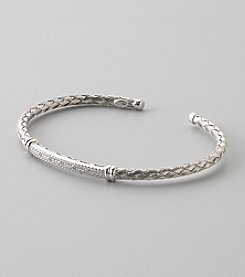 Polished Basketweave Cuff Bracelet in Sterling Silver