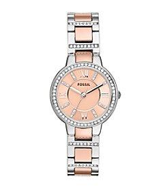 Fossil® Women's Virginia Bracelet Watch in Rose Goldtone/Silvertone