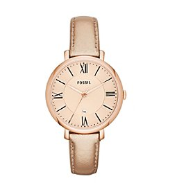 Fossil® Women's Jacqueline Watch in Rose Goldtone Metallic Leather Strap